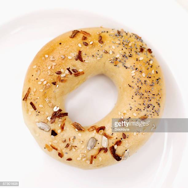Close-up of a herb bagel on a plate
