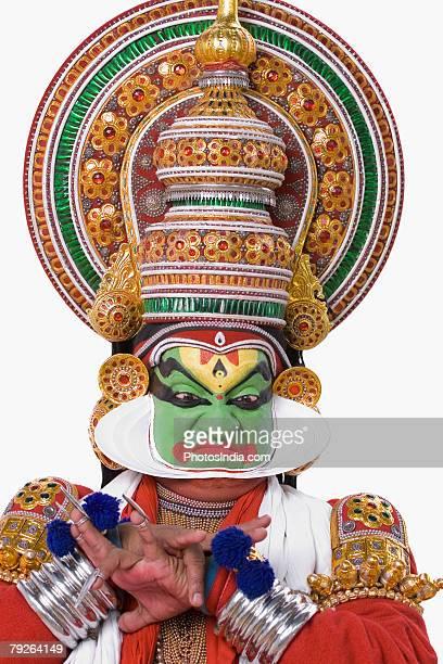 Close-up of a Kathakali dance performer