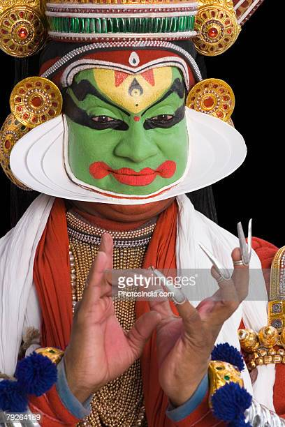 Close-up of a Kathakali dance performer