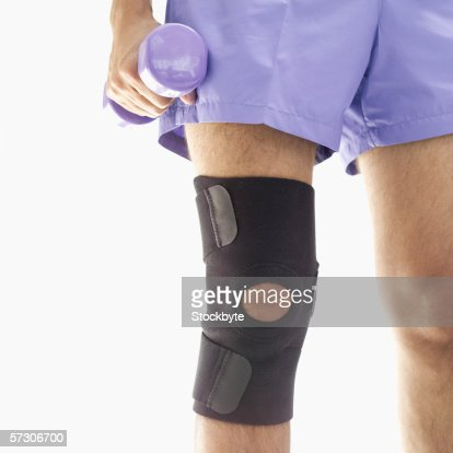 Close-up of a knee pad on a man's knee