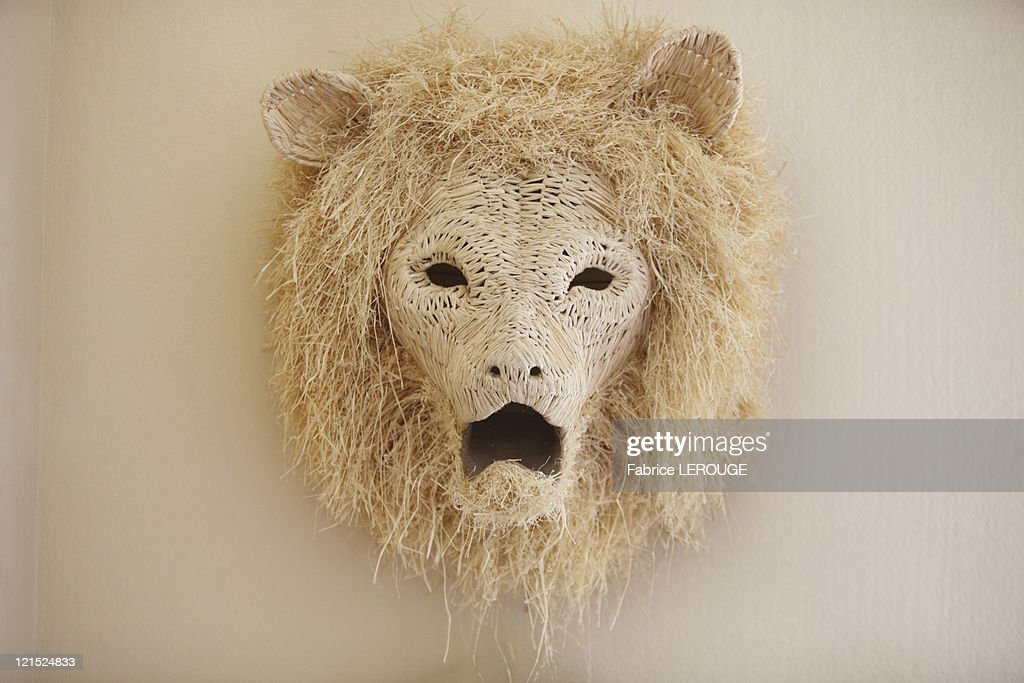 Close-up of a lion head decorated on a wall : Stock Photo