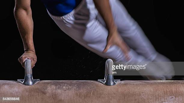 Closeup of a man on pommel