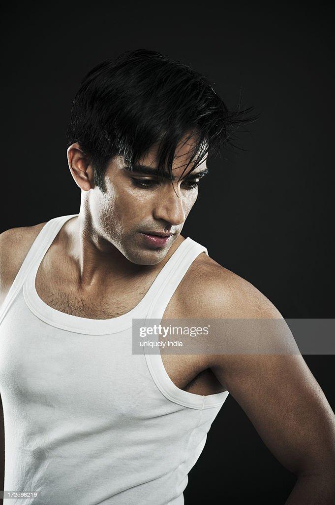 Close-up of a man posing : Stock Photo