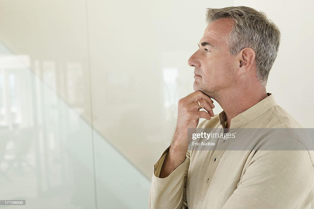 Close-up of a man thinking : Stock Photo