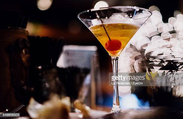 Close-Up Of A Martini On Table