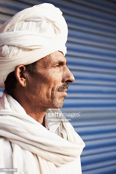 Close-up of a mature man wearing a turban