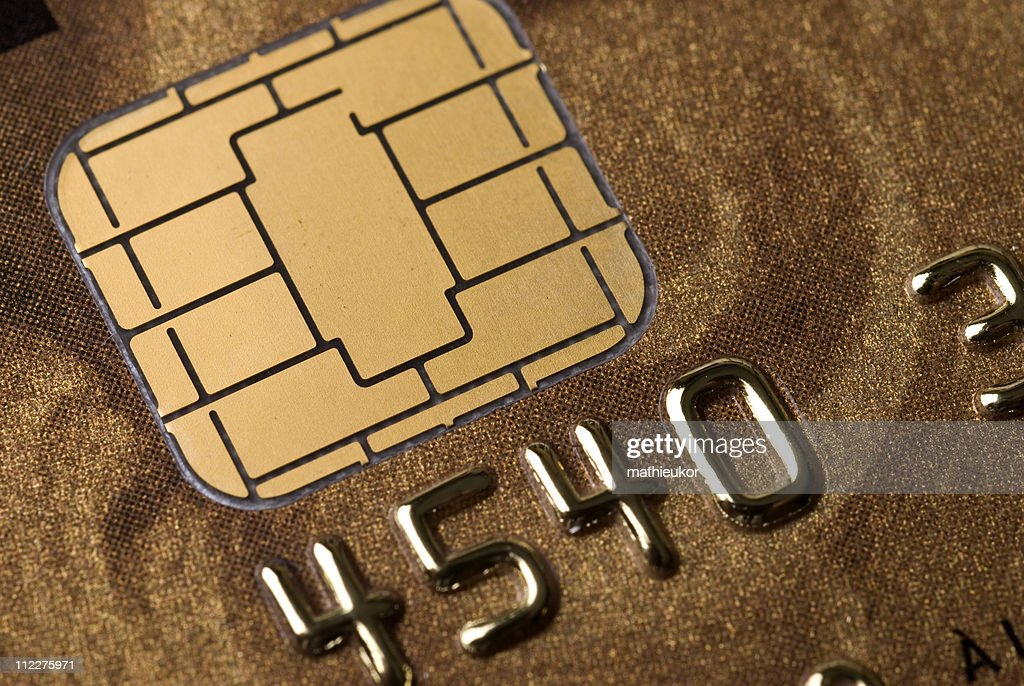 A close-up of a microchip in a credit card