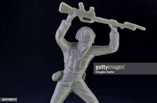 Close-up of a miniature toy soldier