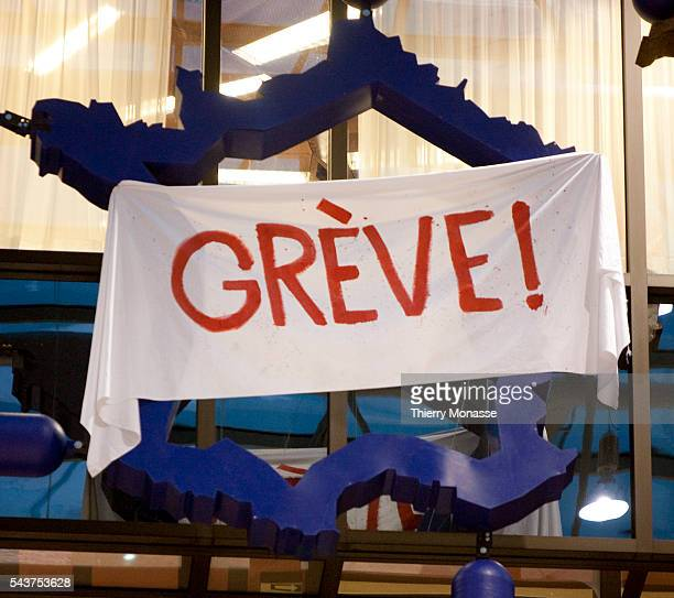 A closeup of a modern art installation called 'Entropa' shows a representation of France featuring a banner reading 'Strike' on January 12 2009 in...