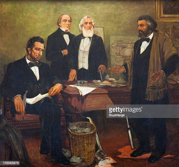 Closeup of a mural entitled ''Douglass Appealing to President Lincoln'' by William Edouard Scott which depicts Frederick Douglass as he petitions for...
