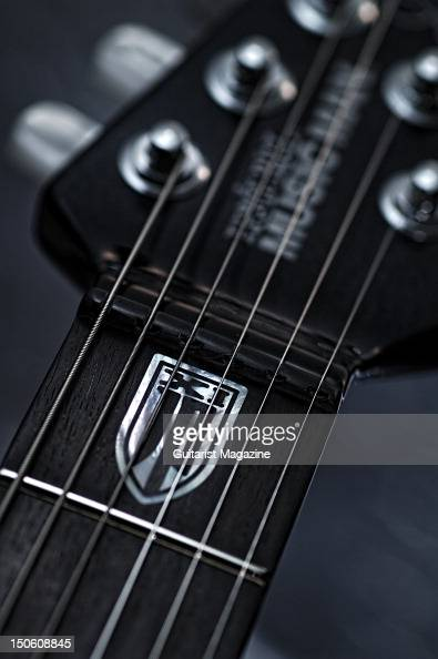 A closeup of a Music Man JPXI electric guitar during a studio shoot for Guitarist Magazine June 22 2011