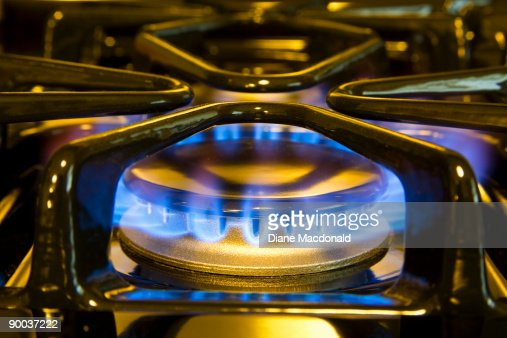 A Close Up Of Natural Gas Stove Top Flame Stock Photo