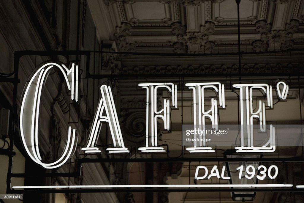 Close-up of a neon cafe sign at a door Genoa Italy : & Closeup Of A Neon Cafe Sign At A Door Genoa Italy Stock Photo ... Pezcame.Com