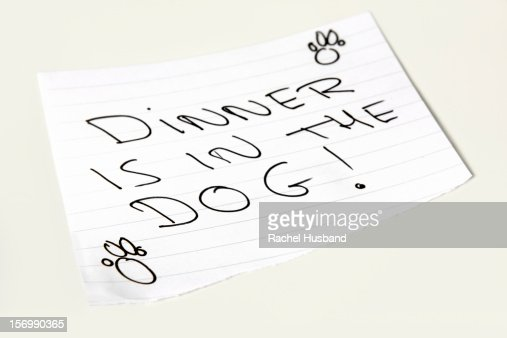 Close-up of a note saying 'Dinner is in the dog' : Stock Photo