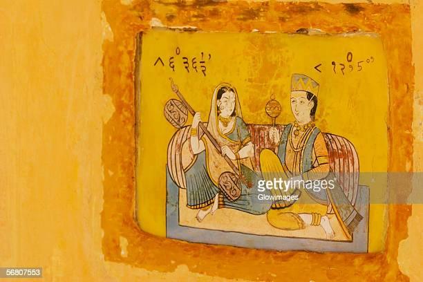 Close-up of a painting on the wall, Jantar Mantar, Jaipur, Rajasthan, India