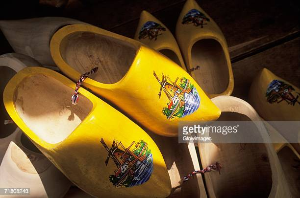 Close-up of a pair of yellow clogs, Amsterdam, Netherlands