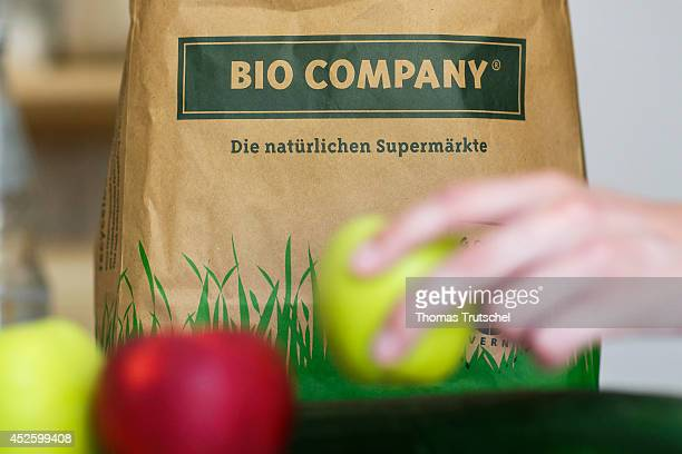 Closeup of a paper bag of the German organic food chain store Bio Company on July 13 in Berlin Germany The Bio Company offers a food assortment...