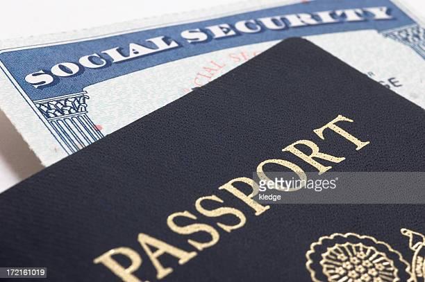 Close-up of a passport and Social Security card