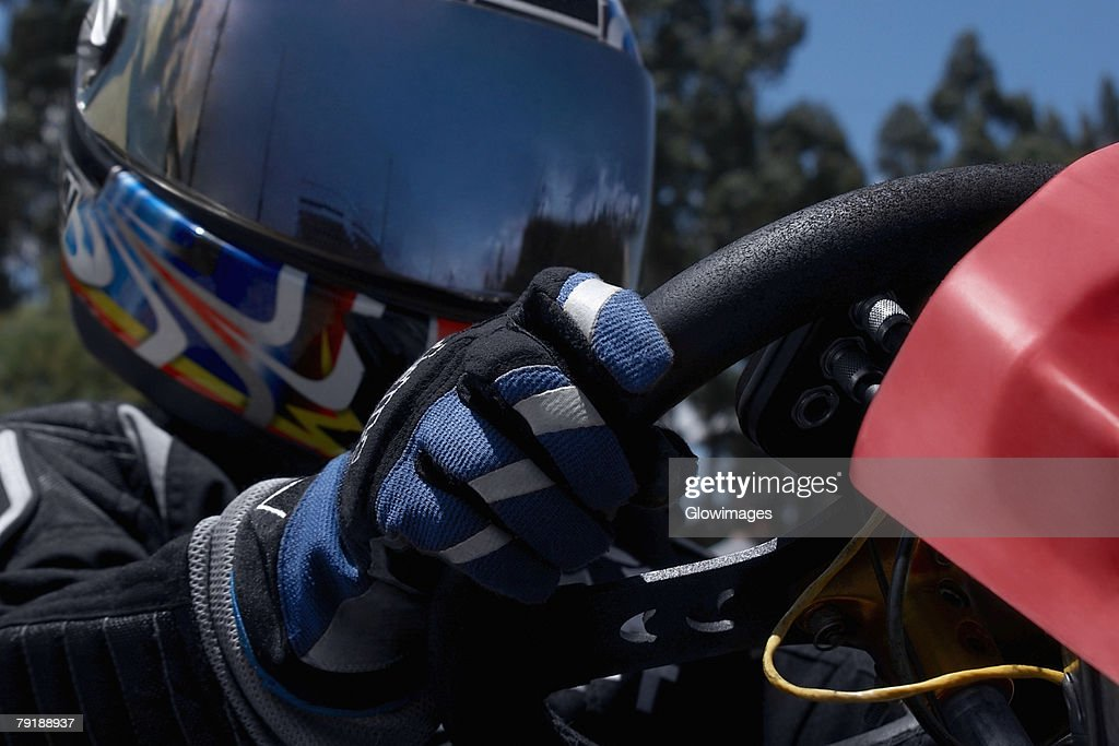 Close-up of a person go-carting : Stock Photo