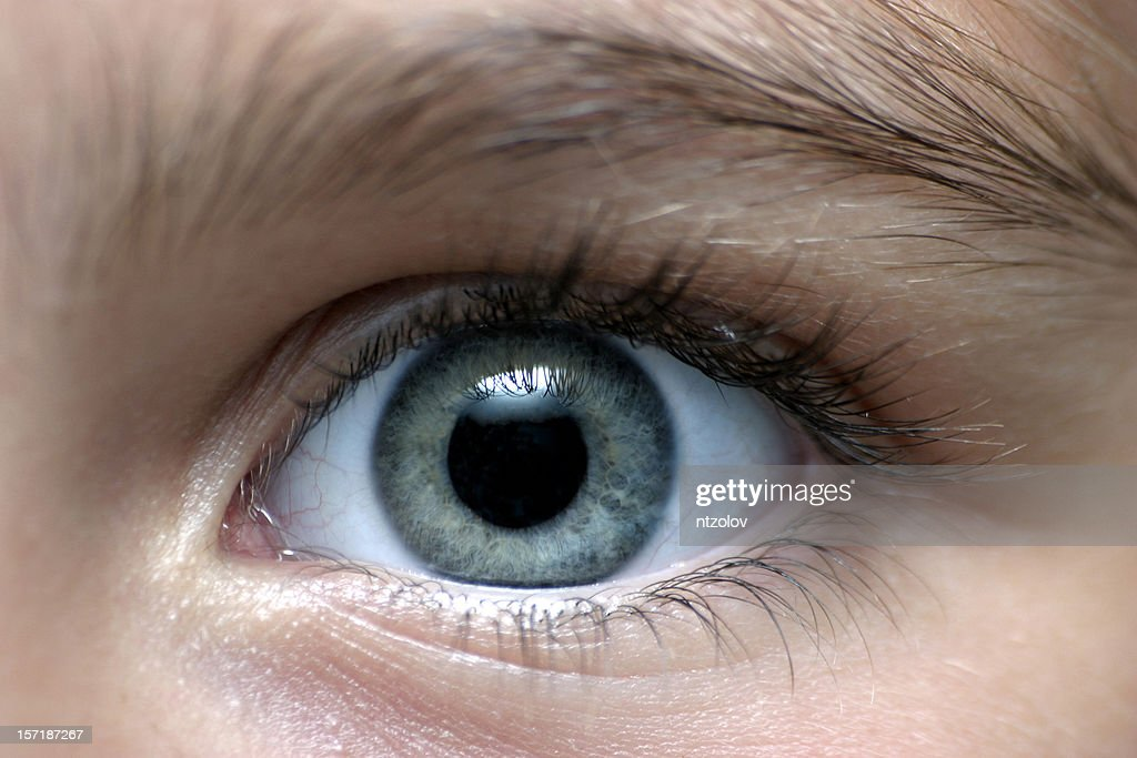 Close-up of a person with gray eyes