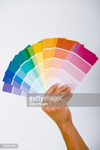 Close-up of a person's hand holding color swatches