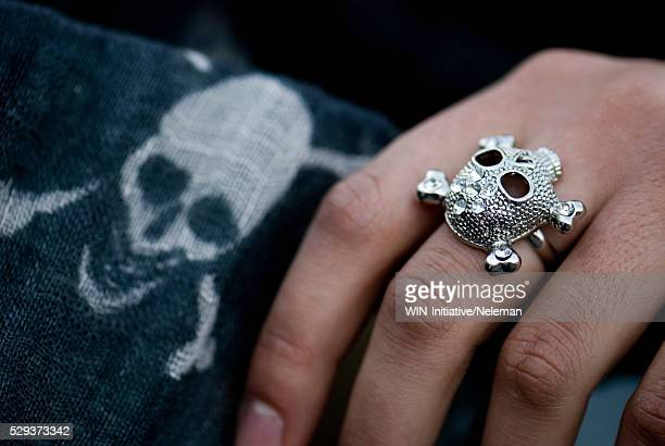 Close-up of a person's hand wearing a skull shape ring