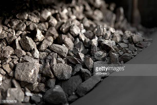 Close-up of a pile of metal ore illuminated by sunlight