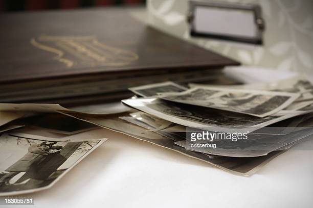 Close-up of a pile of old photographs