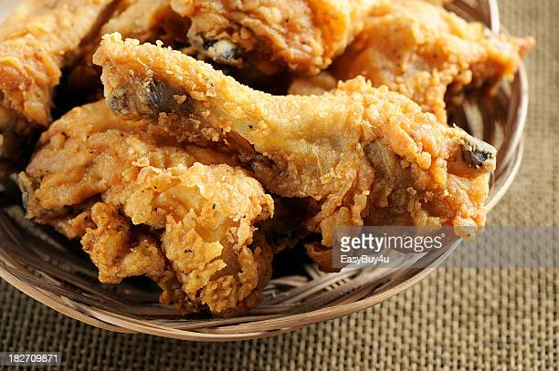 Close-up of a plate filled with fried chicken