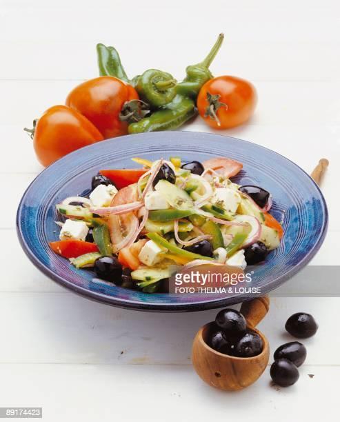 Closeup of a plate of Greek salad