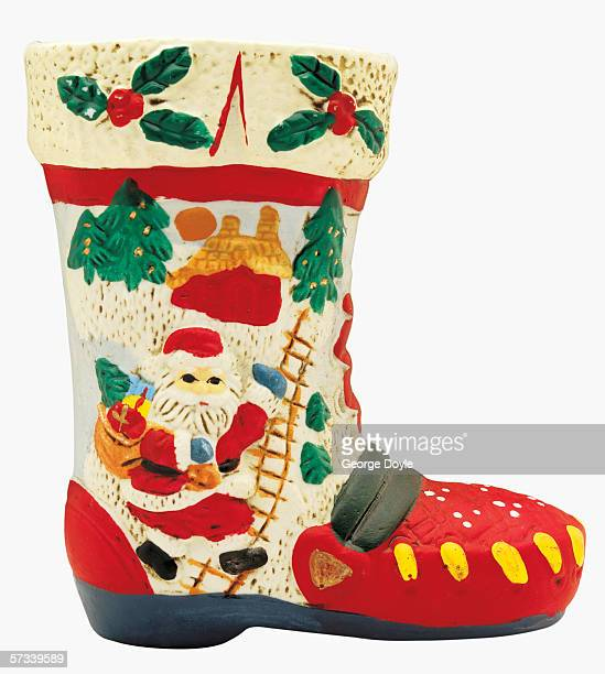 close-up of a porcelain boot with a Christmas motif