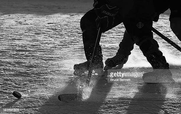 A closeup of a puck on the pond in the 2013 USA Hockey Pond Hockey National Championships on February 8 2013 in Eagle River Wisconsin The threeday...