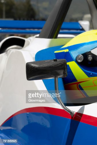 Close-up of a racecar driver in a racecar : Foto de stock