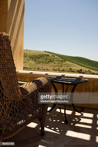 Close-up of a rattan chair in a balcony, Sonoma Valley, California, USA