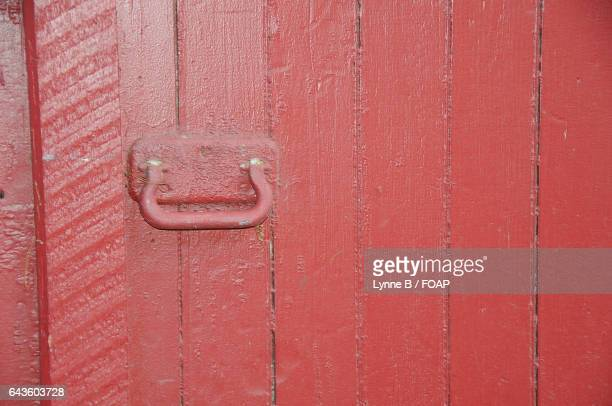 Close-up of a red door