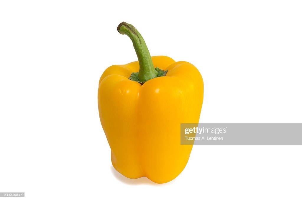 Closeup of a ripe yellow bell pepper