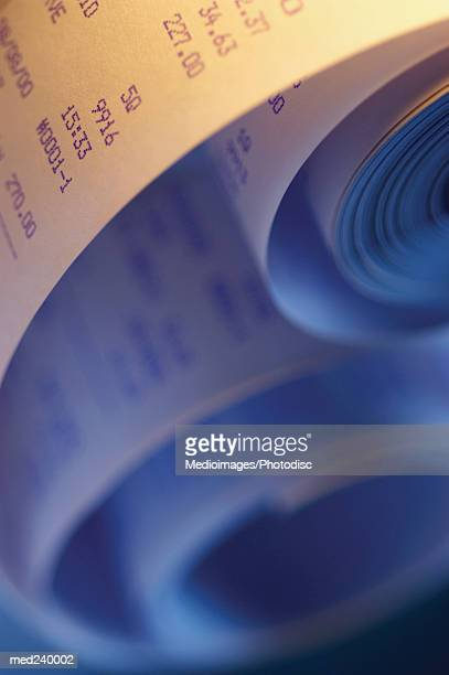 Close-up of a roll of accounting paper