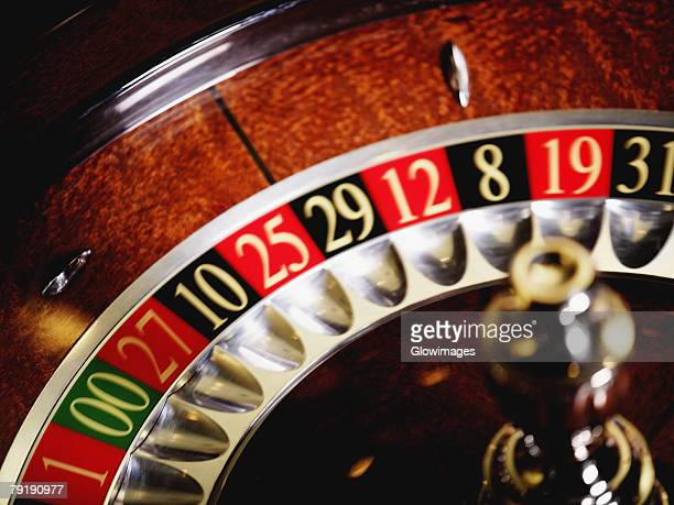 Close-up of a roulette wheel in a casino
