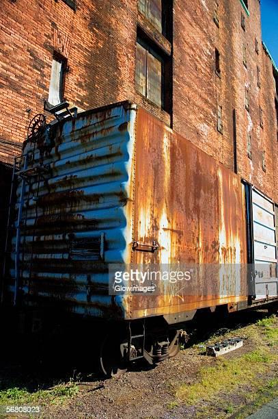 Close-up of a ruined train car, Boston, Massachusetts, USA