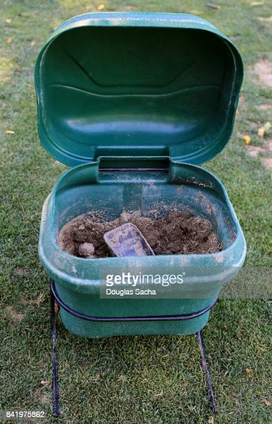 Close-up of a Sand and Seed Bucket for divot repairs on a golf course