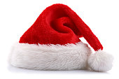 Santa's hat on white background
