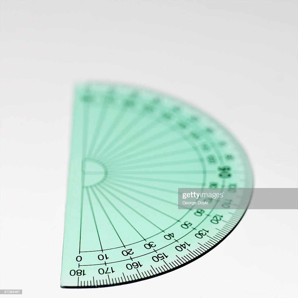 Close-up of a semi circular protractor