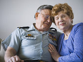 Close-up of a senior couple embracing