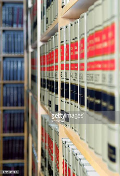 Close-up of a set of hardback books on shelf in law library