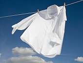 Close-up of a shirt hanging on a clothesline