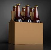 Closeup of a Six brown beer bottles in cardboard box. 3D render, studio light, dark gray spot background