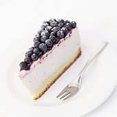 Close-up of a slice of blueberry cheese cake