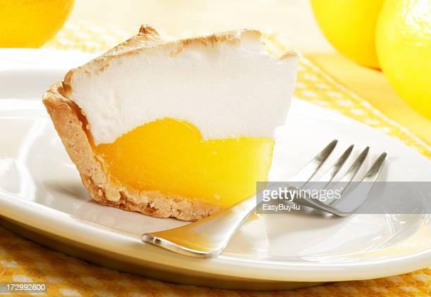 Close-up of a slice of lemon meringue pie