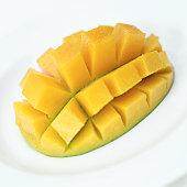 close-up of a slice of mango
