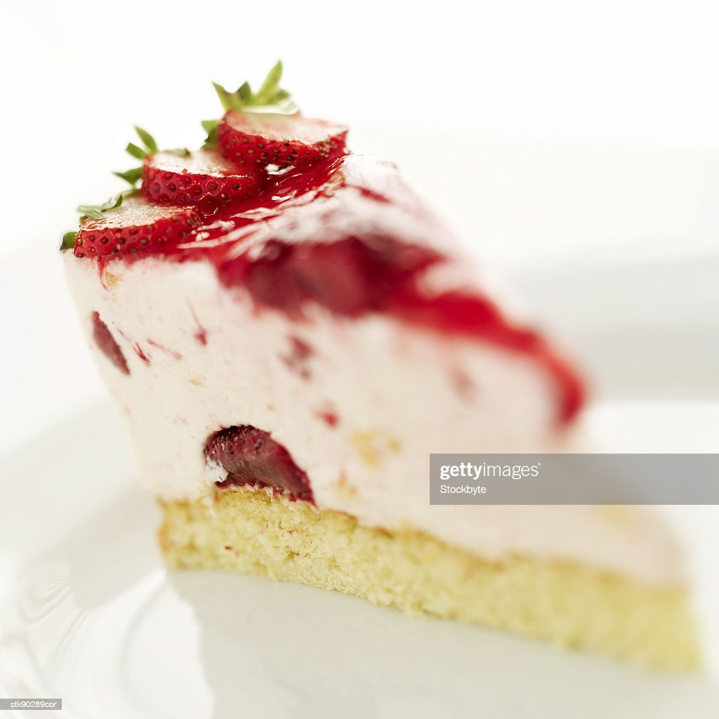 close-up of a slice of strawberry cake : Stock Photo
